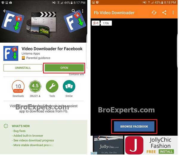 Facebook Video Downloader on Android Phone