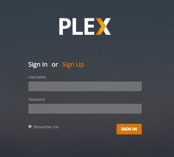 Log in to Plex Media Server