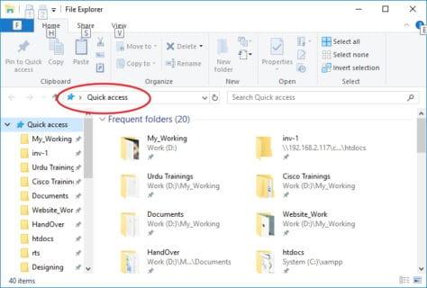 Windows 10 Quick Access Window